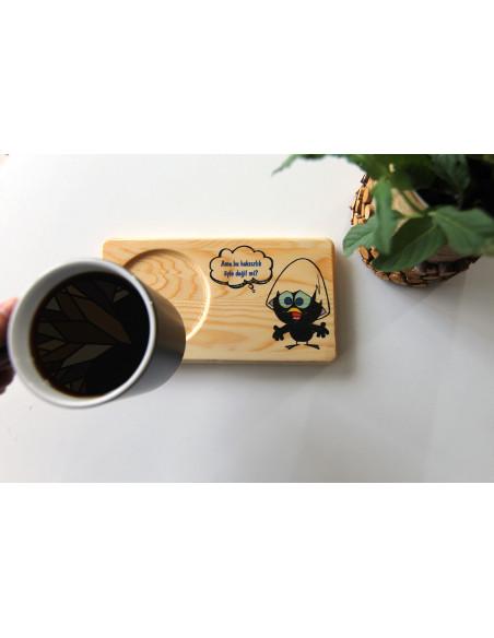 Calimero baskılı doğal ahşap çay kahve sunumu