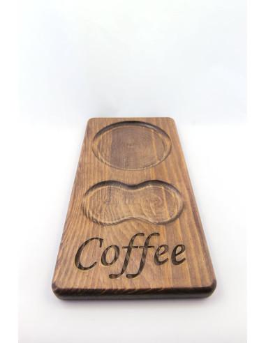 ahsap bardak altligi kahve sunumu