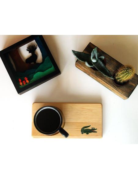 lacoste ahşap kahve tabağı
