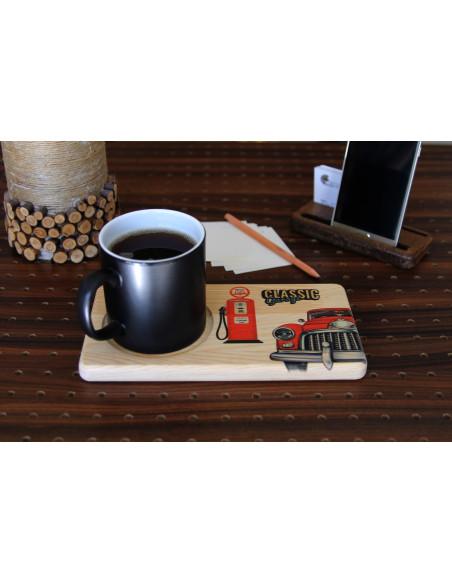 nostaljik araba baskılı ahşap çay kahve tabağı