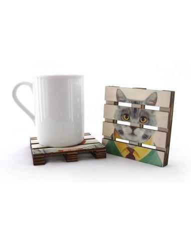 kravatlı kedi doğal ahşap bardak altlığı