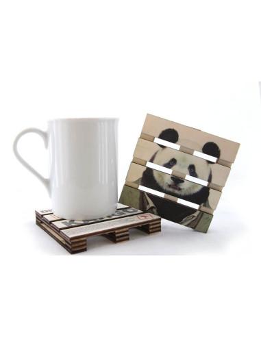 sevimli panda bambu bardak altlığı