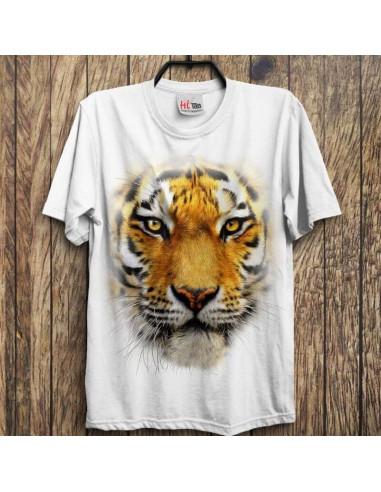 3 Boyutlu Kaplan T-shirt Beyaz