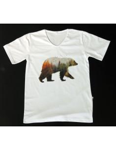 Çift pozlama ayı ve manzara t-shirt