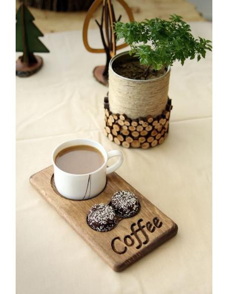 Ahşap Kahve sunumu