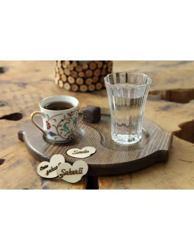 Türk kahvesi ahşap bardak altlığı
