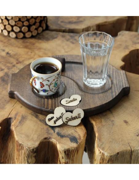Türk kahvesi ahşap sunum tabağı