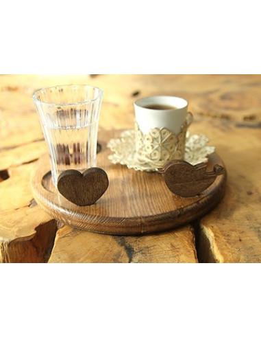 Sevgiliye hediye ahşap kahve tabağı