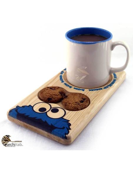 Kurabiye Canavarı Ahşap Çay ve Kahve Sunum Tabağı
