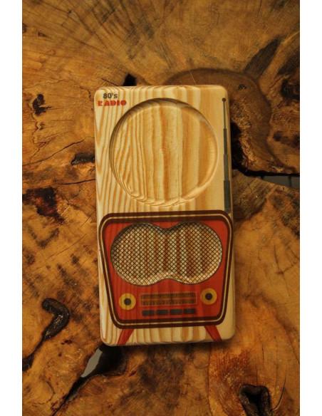 Nostaljik radyo ahşap bardak altlığı