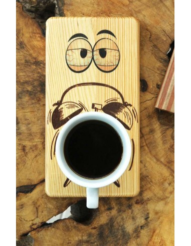 çalar saat kahve ahşap tabak