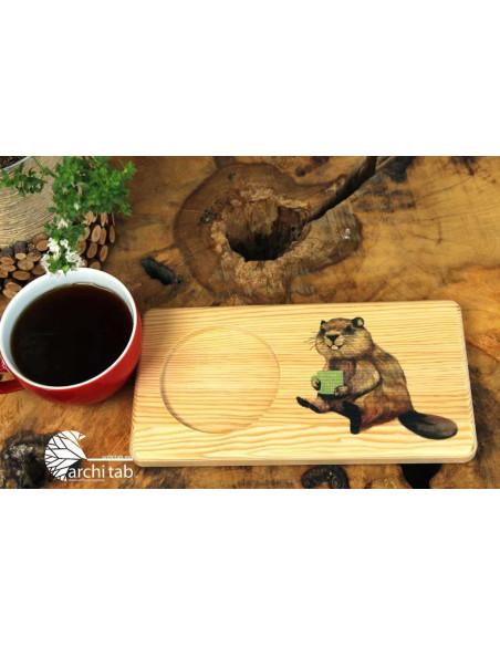 kunduz baskılı ahşap çay kahve tahtası