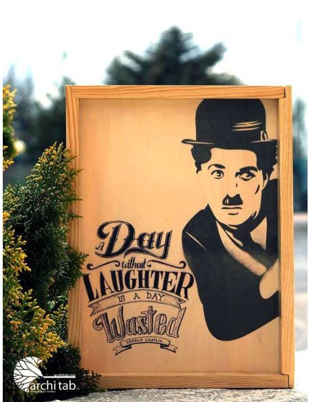 Charlie Chaplin The Kid temalı ahşap dekoratif tepsi