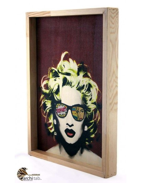 Madonna baskılı doğal ahşap tablo