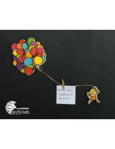 balonlu küçük kız ahşap buzdolabı süsü magnet
