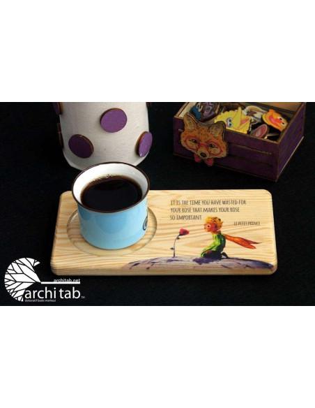 Küçük prens ahşap çay kahve tabağı
