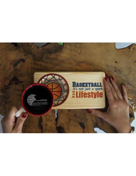 basketbol ahsap çay kahve tabağı