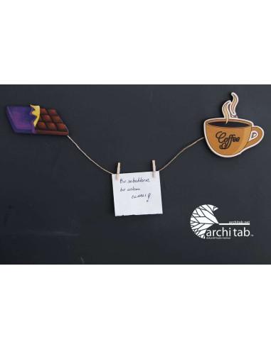kahve ve çikolata ahşap buzdolabı süsü
