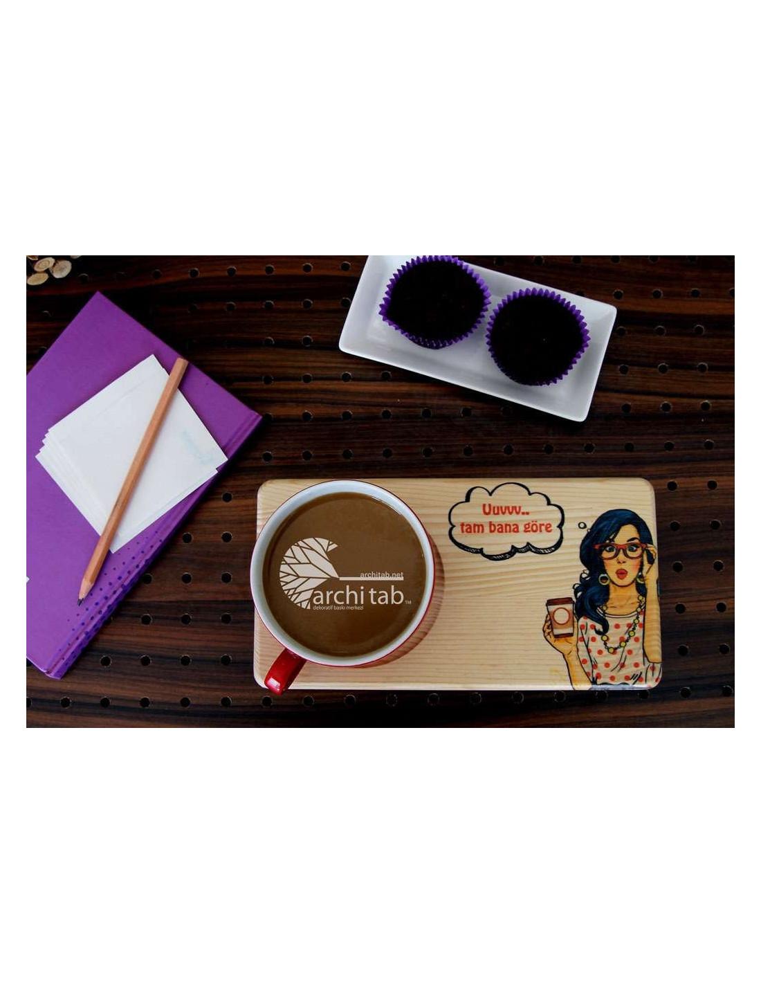 Vintage tasarım doğal ahşap çay ve kahve sunum tabağı ...Bardak Altligi