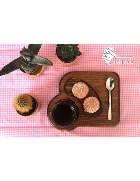 Kurabiye sunumlu ahşap çay kahve tabağı