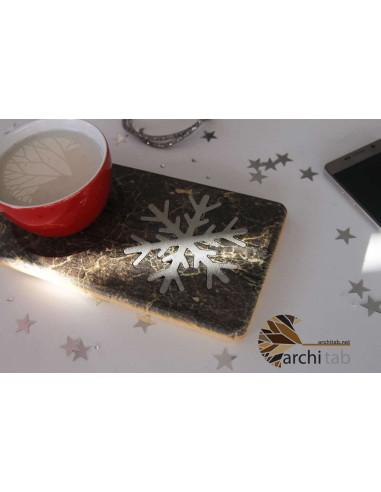 Kar tanesi desenli yılbaşı doğal ahşap çay kahve sahlep tabağı