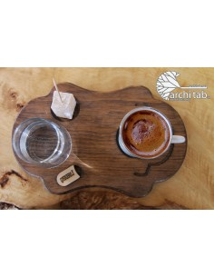 Osmanlı ahşap Türk kahvesi sunumu
