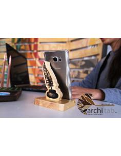 divit tasarlımlı doğal ahşap telefon standı