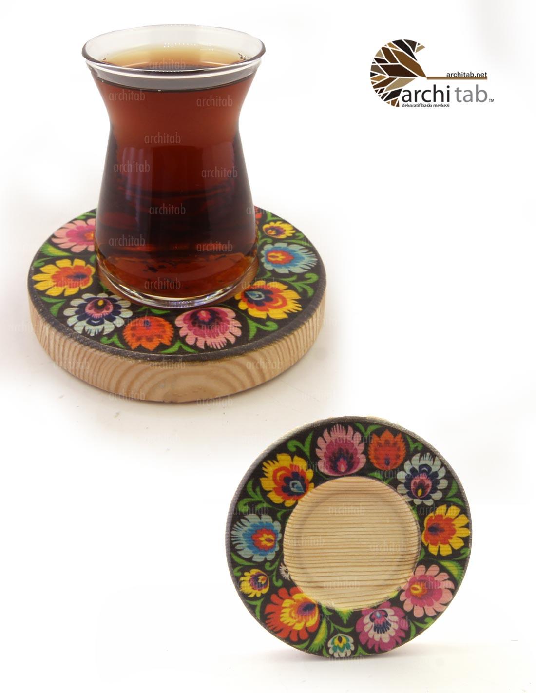 ahşap çay tabağı